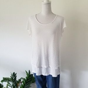 PerSeption Concept White Eyelet Fishnet Tunic Top